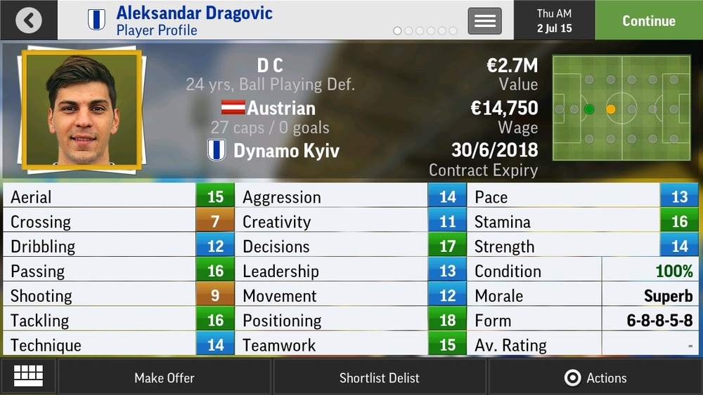 Aleksandar Dragovic D C Ball Playing Def - Dynamo Kyiv - 24 yrs   €2.7M - €9.75M (with some rival aiming for the same player)
