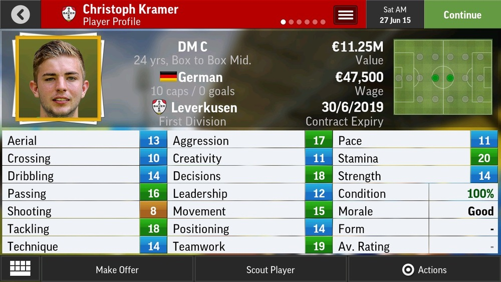 Christoph Kramer DM C Box to Box Mid - Leverkusen - 24 yrs   €10.75M - €21.5M