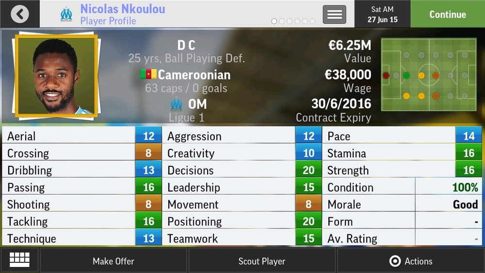Nicolas Nkoulou D C Ball Playing Def - OM - 25 yrs   €6.5M - €19M