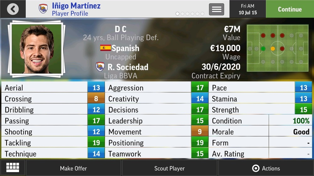 Inigo Martinez D C Ball Playing Def - R. Sociedad - 24 yrs    €7.25M - €16.25M