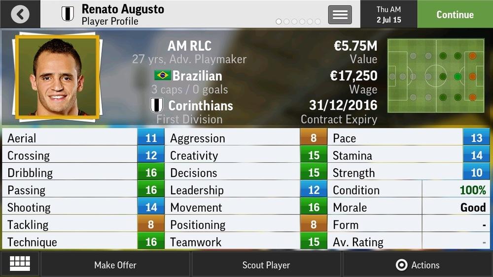 Renato Augusto AM RLC Adv Playmaker - Corinthians - 27 yrs €5.75M - €8.25M