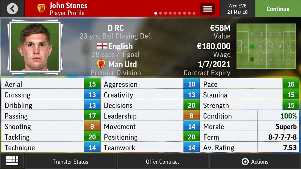 John Stones D RC Ball Playing Def - Everton - 21 yrs    €17.25M - €32M