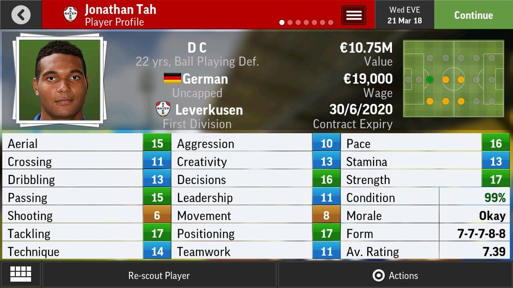 Jonathan Tah D C Ball Playing Def - Leverkusen - 19 yrs    €5.25M - €24.5M