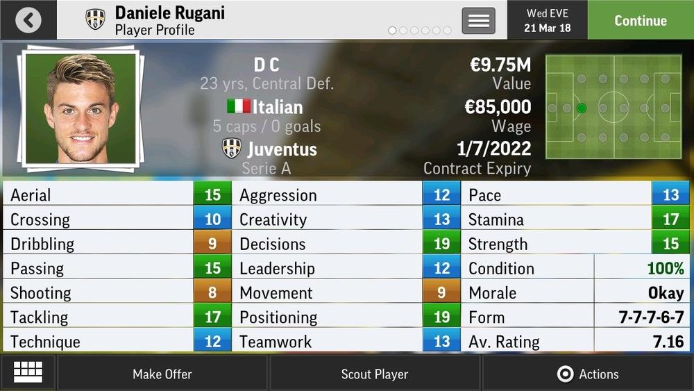 Daniele Rugani D C Limited Def - Juventus - 20 yrs  €8.25M - €27M