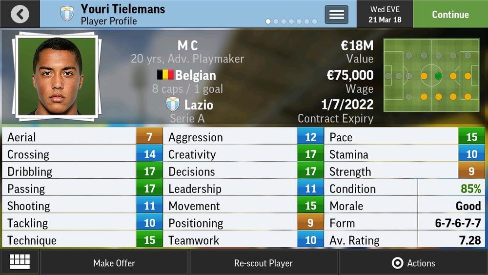 Youri Tielemans M C Adv Playmaker - Anderlecht - 18 yrs  €5.5M - €17.5M