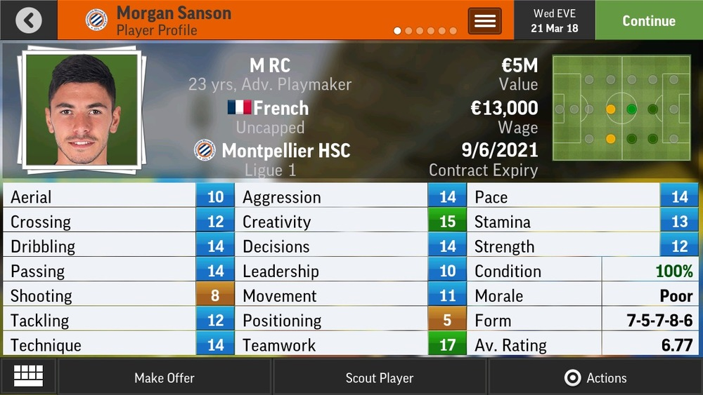 Morgan Sanson M RC Adv Playmaker - Montpellier - 20 yrs    €7.5M - €16.75M