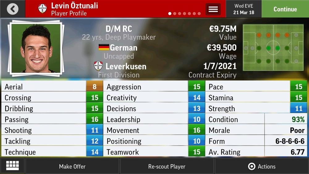 Levin Öztunali D/M RC Deep Playmaker - Leverkusen - 19 yrs  €7M - €14.5M