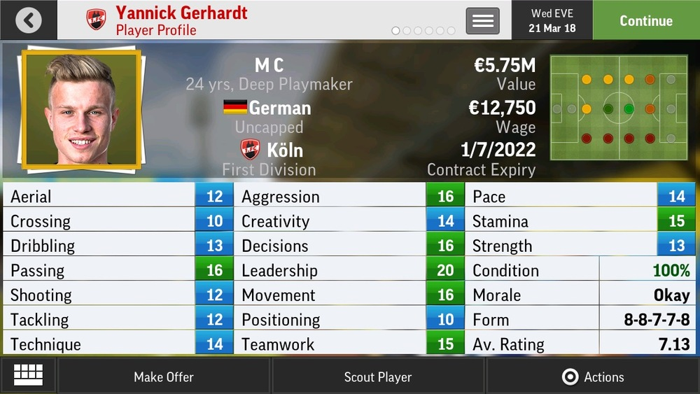 Yannick Gerhardt M C Deep Playmaker - Köln - 21 yrs  €5.75M - €13M