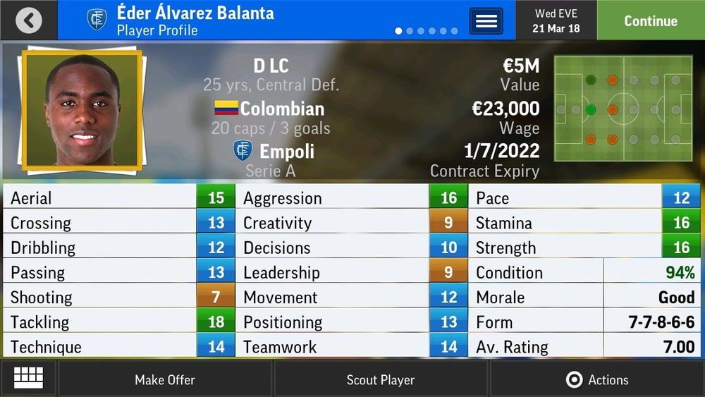 Eder Alvarez Balanta D LC Limited Def - River - 22 yrs    €2M - €3.6M (several bid until player unhappy with their club)