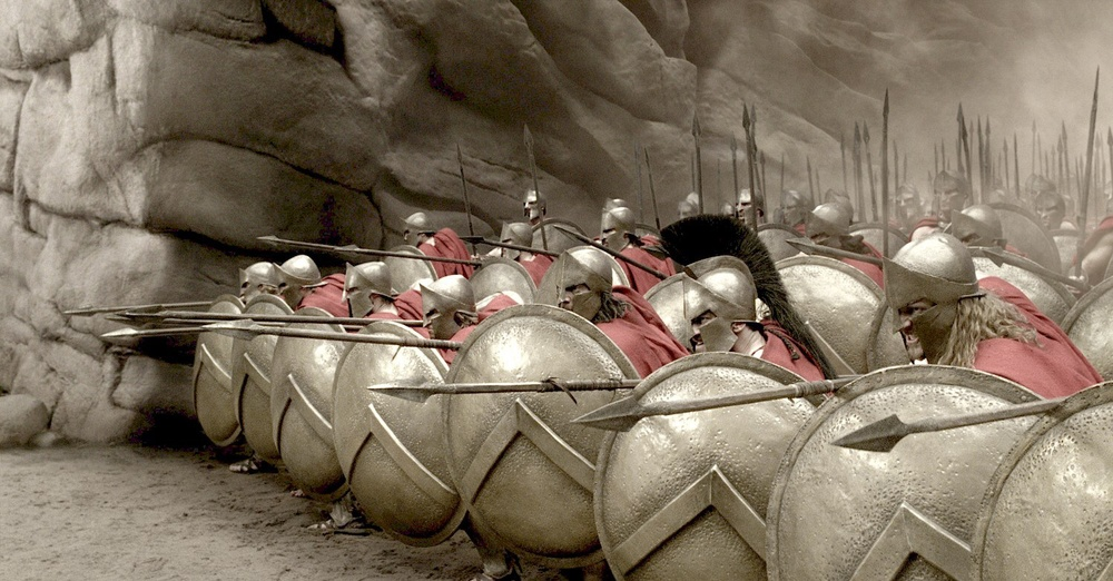 Leonidas and his 300 Spartans lock shields