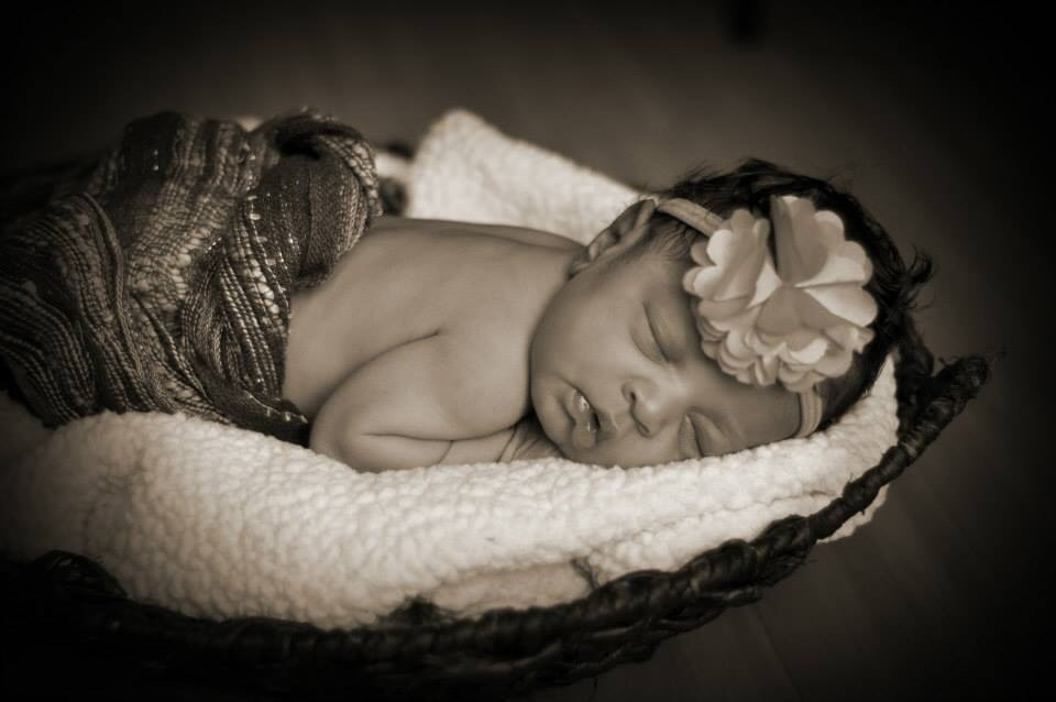 Abrielle's photo shoot on her first day of life.