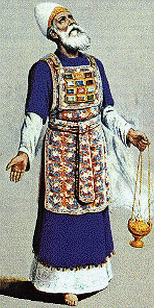 The Hebrew High Priest, with prayer incense.