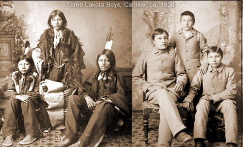 Lakota boys circa. 1900, in Lakota tribal dress versus European garb