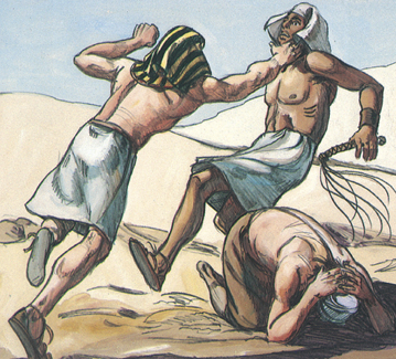 Moses kills an Egyptian for beating a fellow Hebrew (radical social justice), and then must flee into exile.