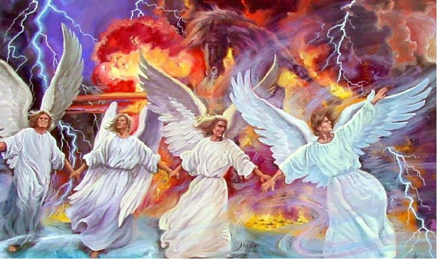 Angels holding back the winds of strife, symbolized by a horse of the apocalypse, unbelievers get more time