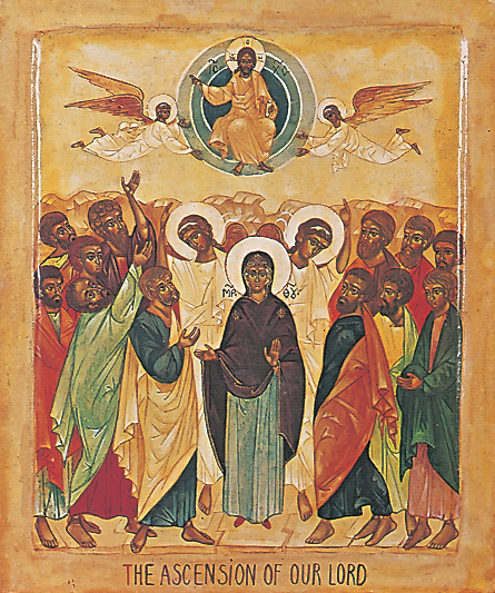 The Apostles with Mary at the ascension of Jesus