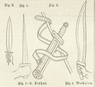 The figure on the right is a  machaira , designed for cutting, while the others are designed for stabbing.