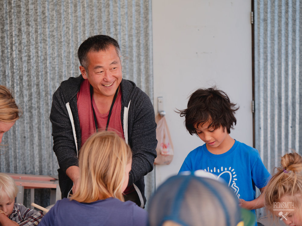 Filmmaker, Shingo Usami, making riceballs with the youth of Crested Butte after his film screening, RICEBALLS.