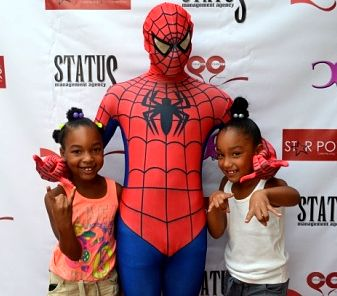 "Star Power Charity Founder Tammie Tolbert thanks Spiderman for helping Star Power Charity's Classic Cuts 4 Kids"" to be a GREAT success!!!!"