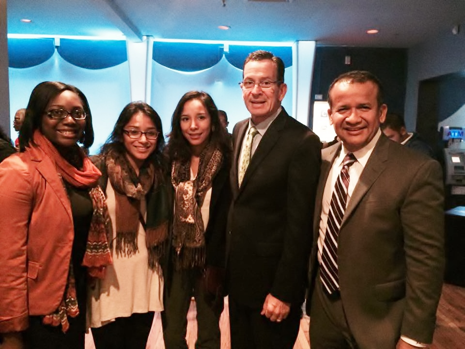 Miarah Jones, Margaret Reategui, Jessica Reategui, Gov. Dan Malloy and CEO of Rego Realty Jose Reategui