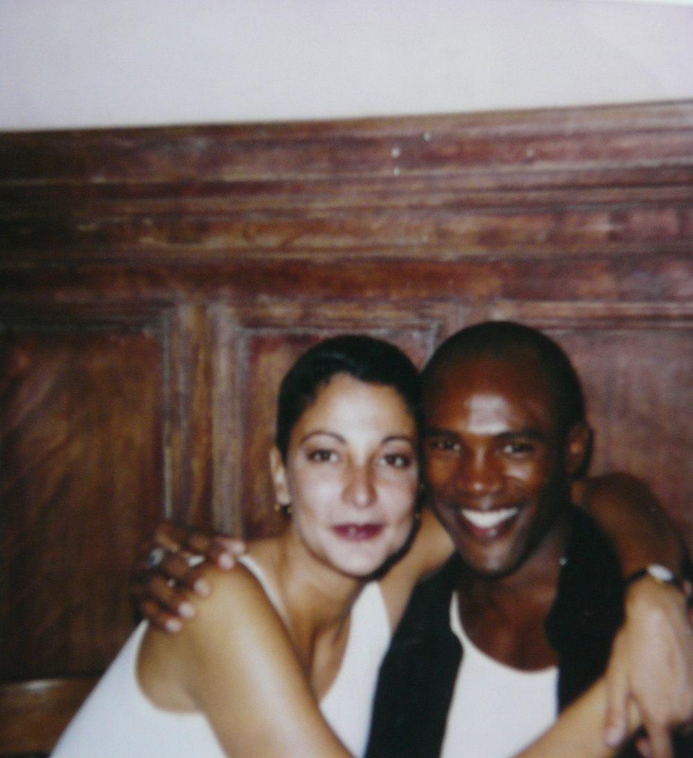"""Roger and me… at Cafe Tabac. Uniform of the '90s… cropped hair and wife beater."" - Wanda Acosta, 2018. Image courtesy of Wanda Acosta."