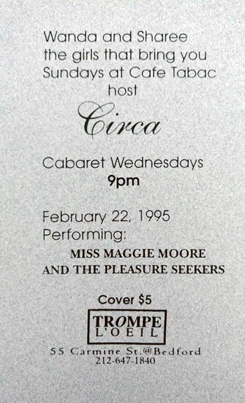 """Back of Circa invite for Lesbian cabaret night at Trompe L'Oeil. We showcased LGBTQ performers, chanteuses and musicians, 1995."" - Wanda Acosta, 2018. Image courtesy of Wanda Acosta."