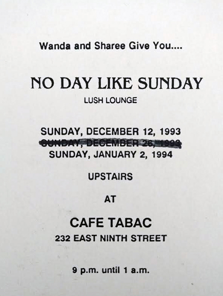 """No Day Like Sunday handmade invite for Sundays at Cafe Tabac party, strike through on Sunday, Dec 20th because restaurant booked a holiday party!"" - Wanda Acosta, 2018. Image courtesy of Wanda Acosta."