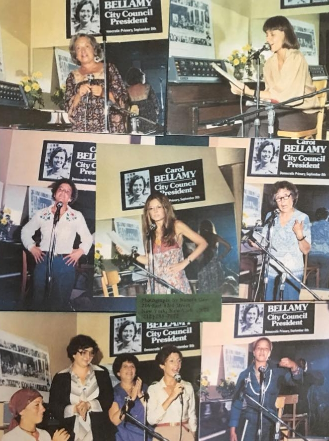 """On the stage at Sahara for the Carol Bellamy fundraiser: top row l to r: Betty Friedan, Robin Morgan; mid row l to r: Karen Burstein, Gloria Steinem, Eve Merriam; bottom row: me, Jane Trichter, ?, Alex Kucker; Ntozake Shange. Can anyone help fill in the missing name?"" - Leslie Cohen, 2018. Image courtesy of Leslie Cohen."