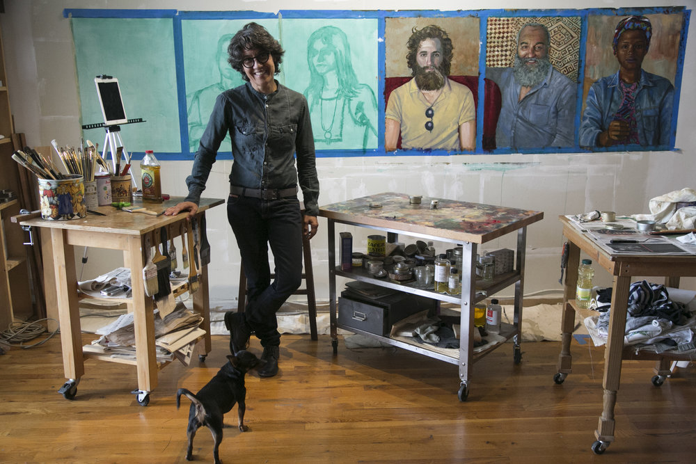 Grace in her studio. Photo by Nomi Ellenson. Image courtesy of Grace Moon.