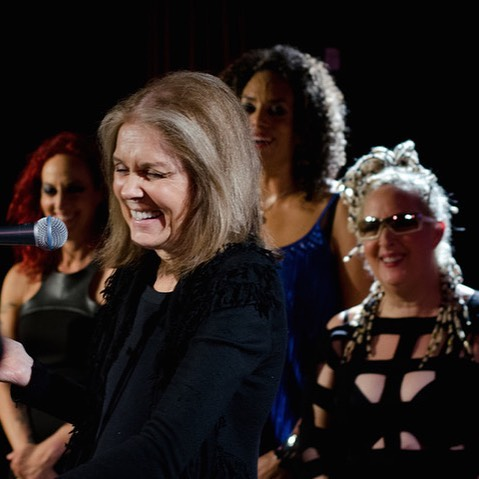 Gloria Steinem speaking at BETTY Band's December, 2018 concert at City Winery, NYC. Image courtesy of BETTY Band.