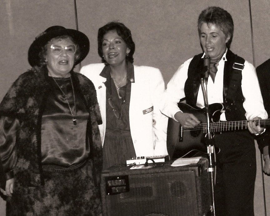 """Left to Right: In 1992 Congresswoman Bella Abzug (D-NY) joined former NOW-NYS President Marilyn Fitterman and Sandy Rapp in Rapp's """"Remember Rose: Song for Choice."""" Image courtesy of Sandy Rapp."""