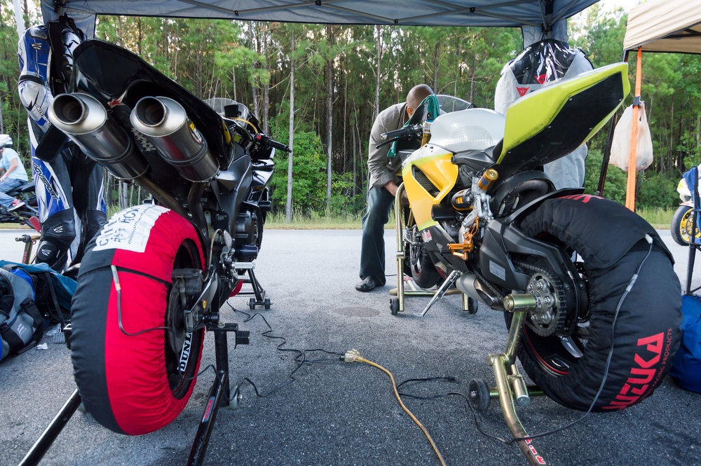 Keeping the tires warm on the Kawasaki and Ducati