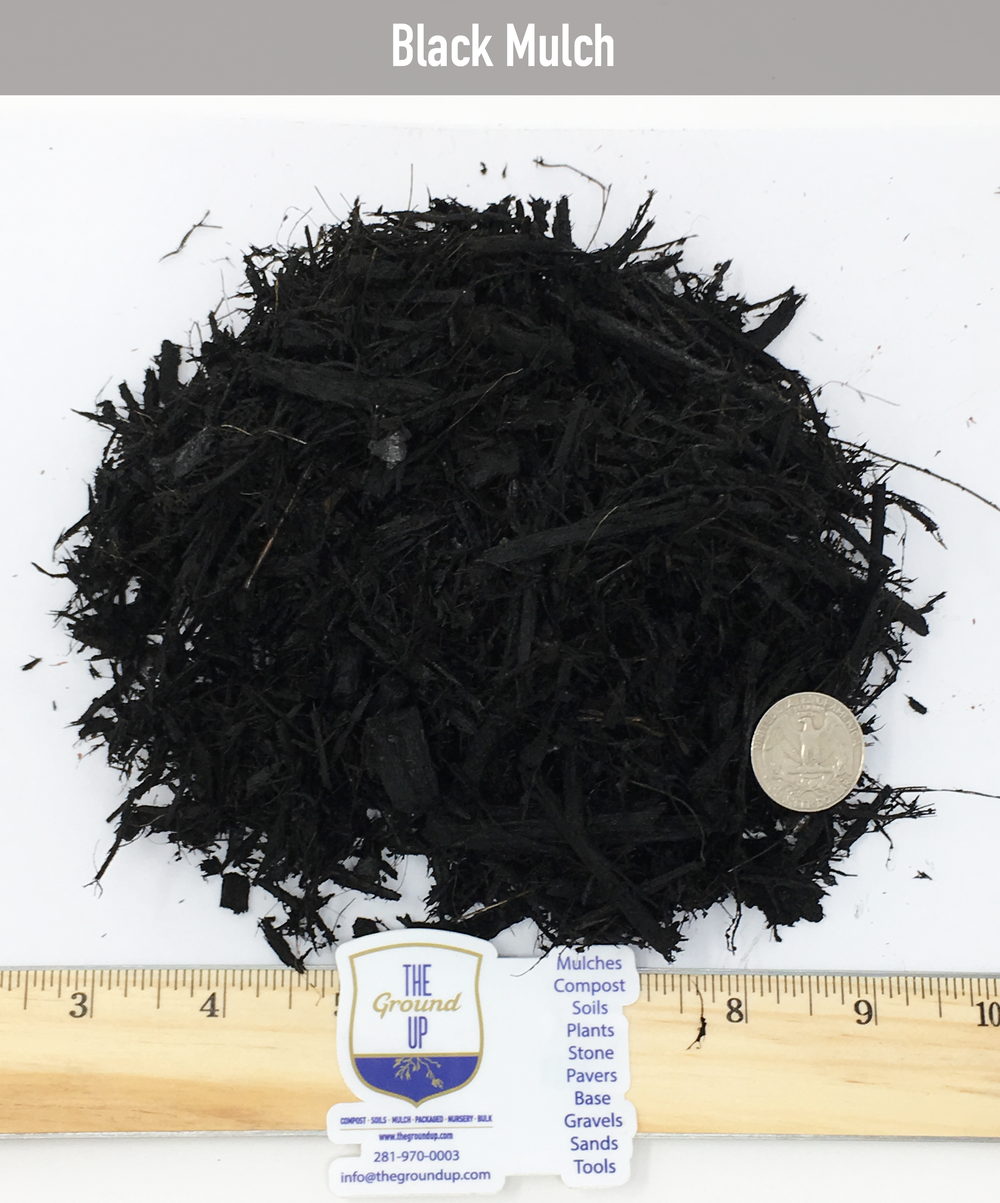 Black mulch Made from our native hardwood mulch, double shredded and color enriched with an ultra premium water base dye.