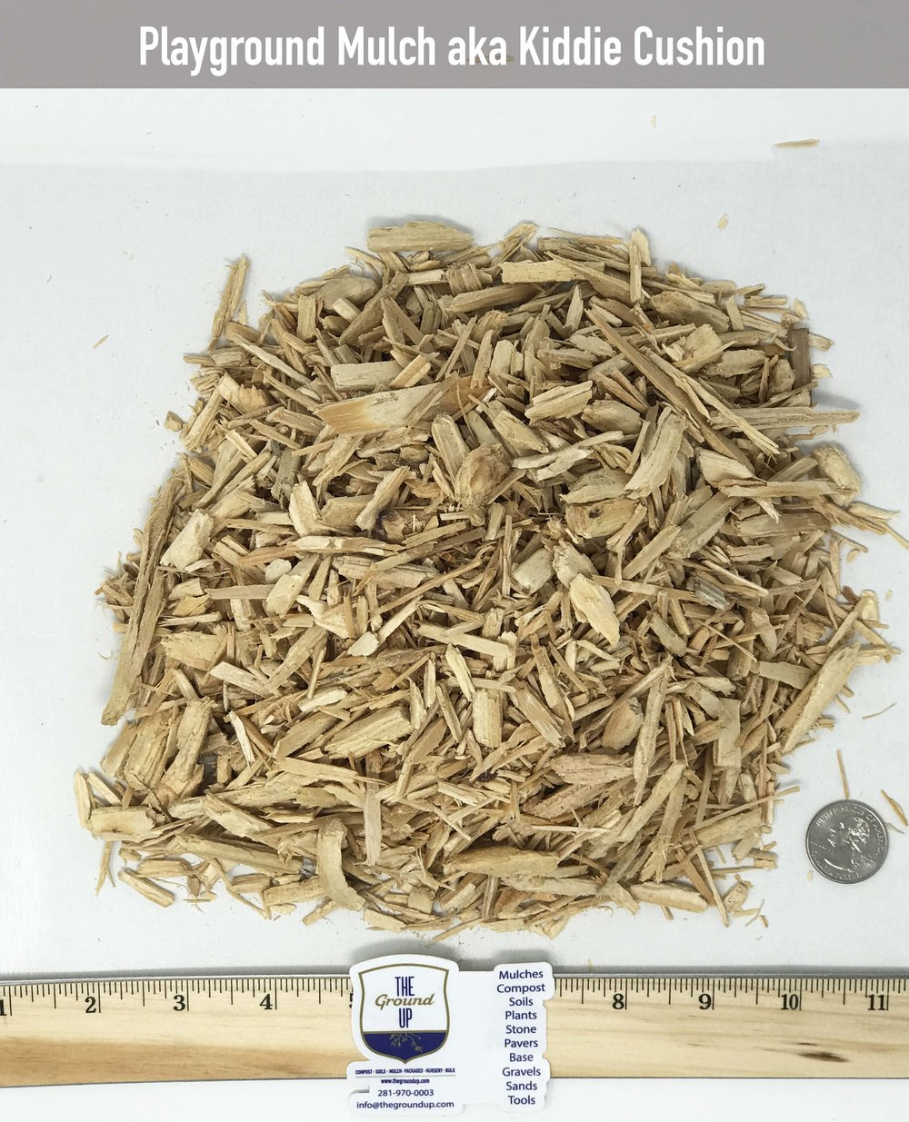Playground Mulch Chipped virgin Pine and/or Red Oak. This material is tested for playground applications.