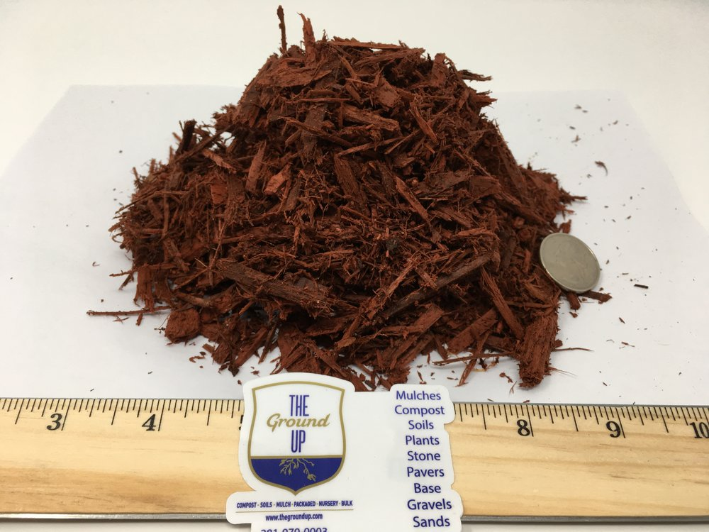 "Red Mulch - Spec - Grind: 1.5"" x 2"" – double ground – dyed.Color: Red.Feedstock: Soft wood.Pricing: BULK $34 cuyd 