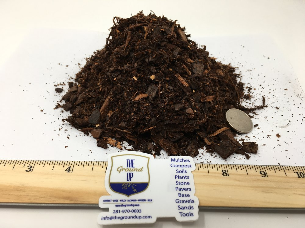 "Pine Bark Mulch - Spec - Grind: .5"" minus (.5"" down to dust)Color: Red and brown tones.Feedstock: 100% pine bark.Pricing: BULK $39 cuyd 