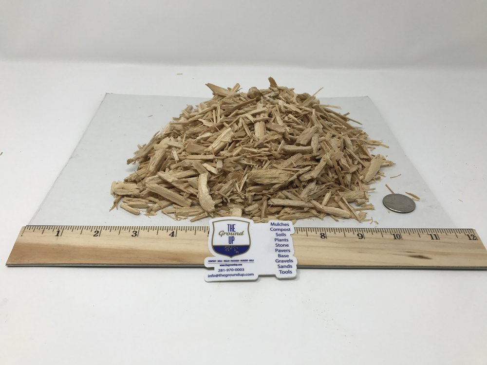 "Playground Mulch - Spec - Grind: 2"" x 2"" – double ground.Color: Yellow/Tan.Feedstock: 100% Softwood.Pricing: BULK $36 cuyd 