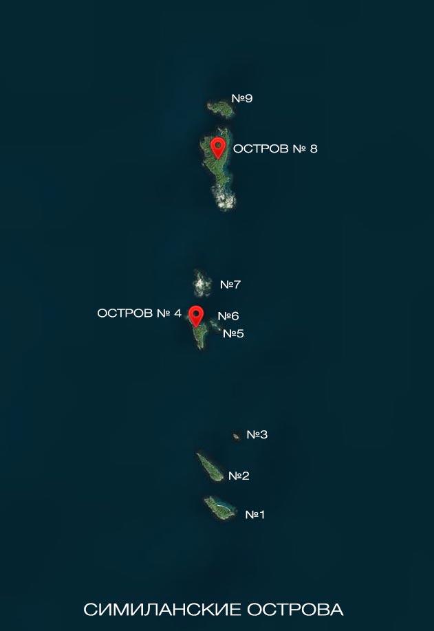 Симиланские острова - карта экскурсий