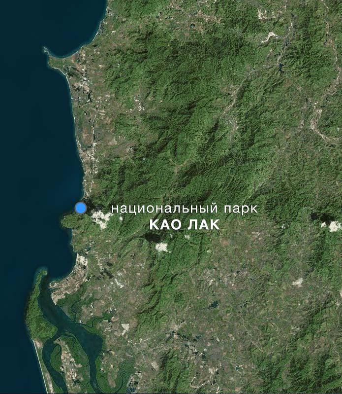 Карта Национального парка Као Лак