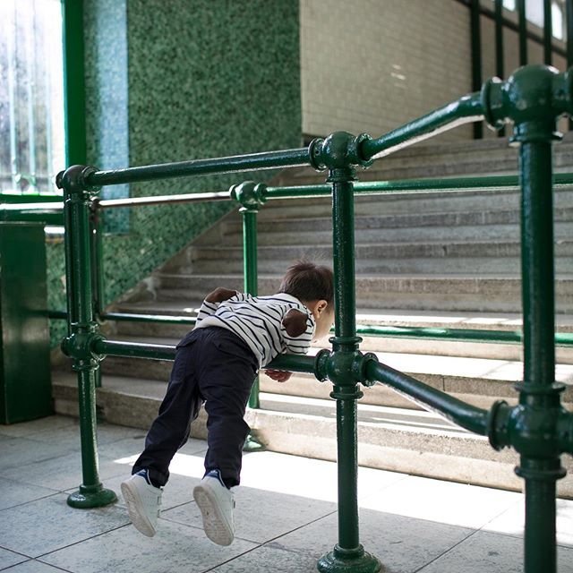 Gymnastics while waiting for the Funicular train? Kids, don't try this at home. He ended up tipping over into a hand stand! #travelwithML #barnabymaxwell