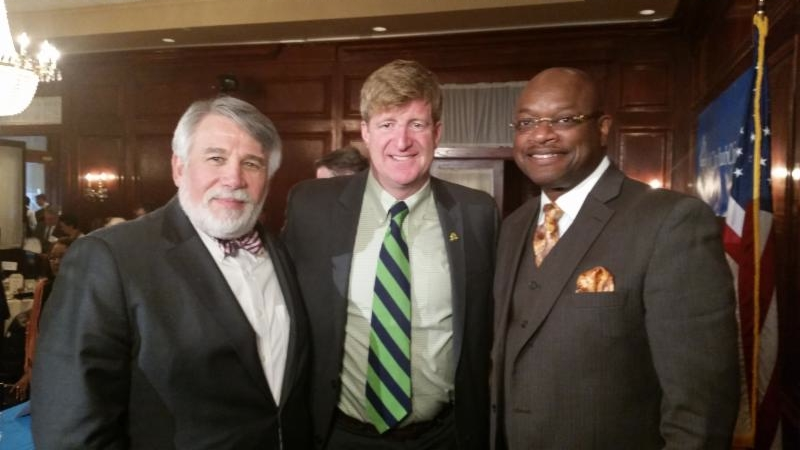 Dr. Bennett L. Laventhal, Congressman Patrick Kennedy, and Alderman Willie B. Cochran at a Mental Health Forum on November 13, 2014.