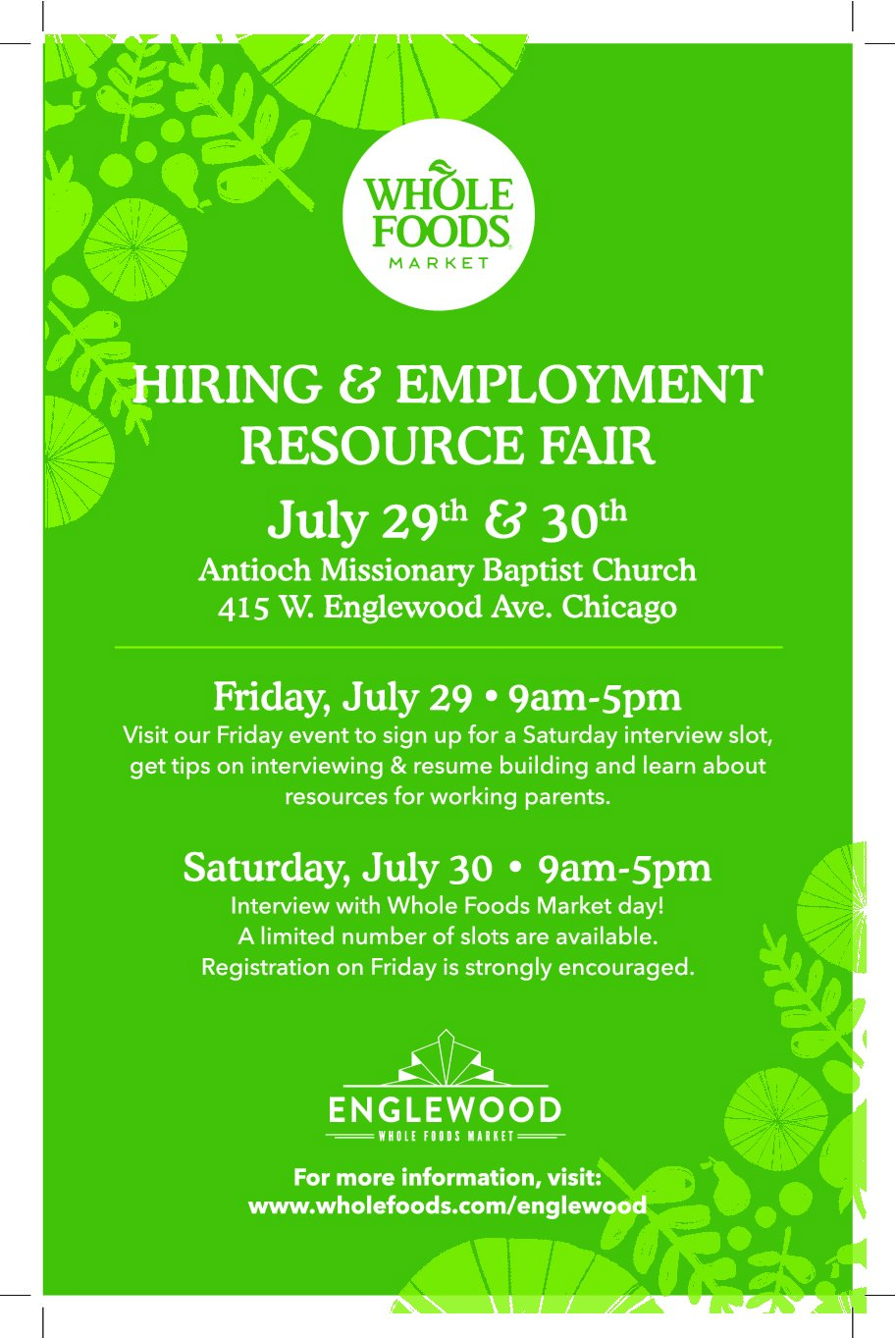 whole foods market hiring and employment resource fair willie b