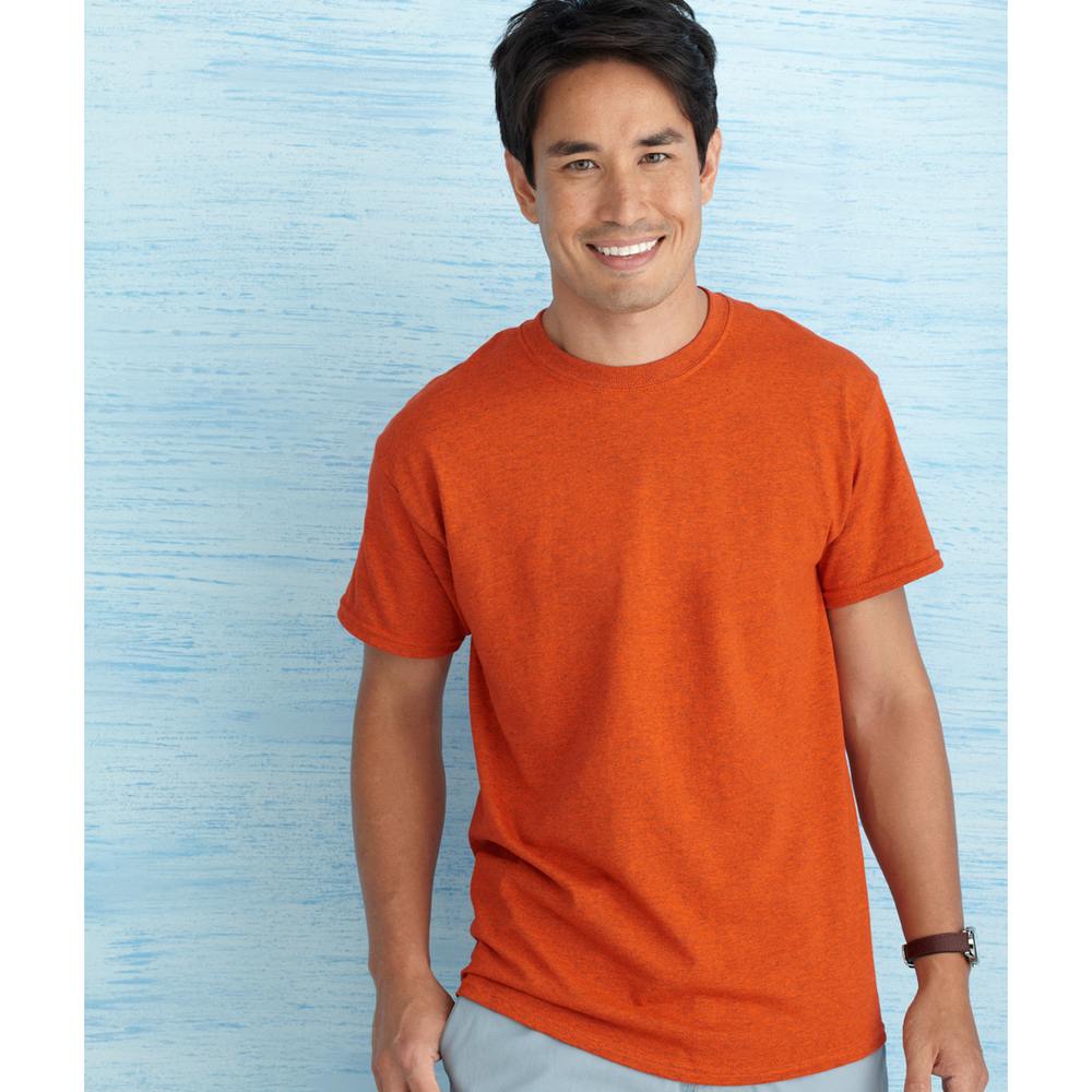 GILDAN 5000 / HEAVY COTTON TEE    5.3 oz. 100% cotton preshrunk jersey knit (some colors contain polyester) Seamless double needle 7/8 collar Taped neck and shoulders Double needle sleeve and bottom hems Quater-turned to eliminate center crease       COLOR OPTIONS