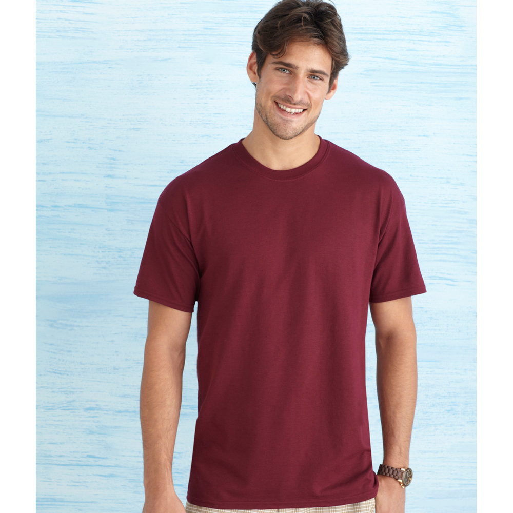 GILDAN 8000 / ADULT DRY-BLEND TEE    5.6 oz. 50% cotton/ 50% dryblend polyester Preshrunk jersey knit Seamless double needle 7/8 collar Taped neck and shoulders Heat transfer label Double-needle sleeve and bottom hems Quarter-turned to eliminate center crease        COLOR OPTIONS