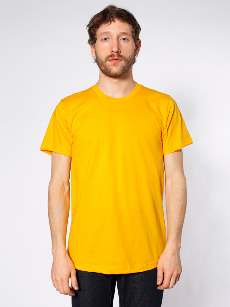 2001 / AMERICAN APPAREL FINE JERSEY TEE   4.3 oz. 100% fine jersey cotton Taped shoulder to shoulder Double-needle sleeves and bottom hems     COLOR OPTIONS