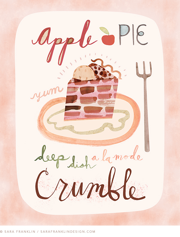 apple pie illustration, sara franklin, desserts, food illustration, illustrator