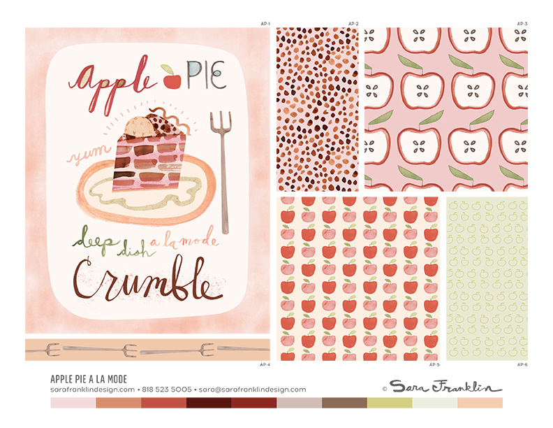 apple pie illustration, sara franklin, apple pie a la mode, art licensing collection, patterns, surface design, apples