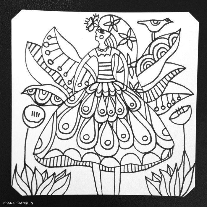 Color Me Minis / Sara Franklin / Bird Lady 2 / 3 of 100 / Illustration / Coloring Page / Art To Color