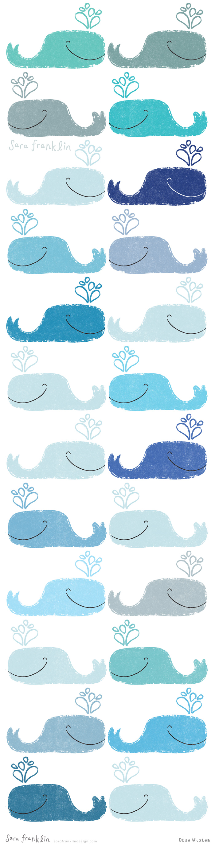Blue Whales / Sara Franklin / Patterns / Boys / Kids Decor / Nautical / Seaside