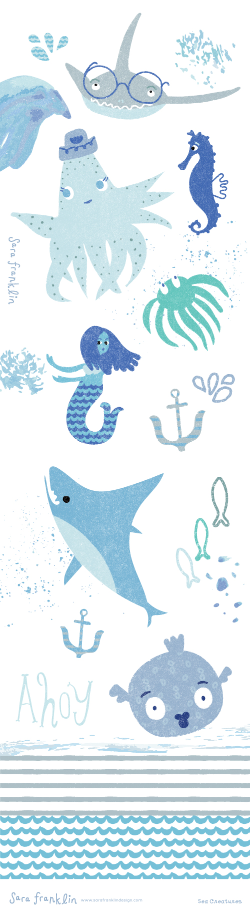 Sea Creatures / Sara Franklin / Surface Pattern Design / Kids Decor / Nautical Patterns / Art Licensing / Sea Life